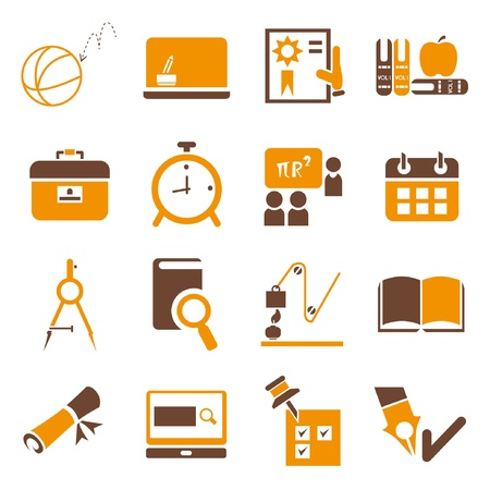 school icons set, orange theme Иллюстрация
