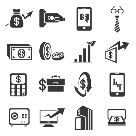 financial concept icons set Stock Vector - 21506581
