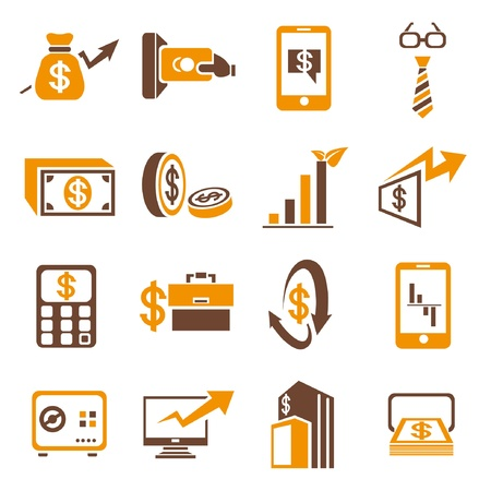 financial concept icons set, orange theme Stock Vector - 21506582