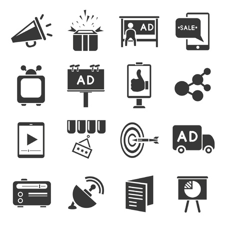 media advertising: advertising icons set, marketing concept Illustration