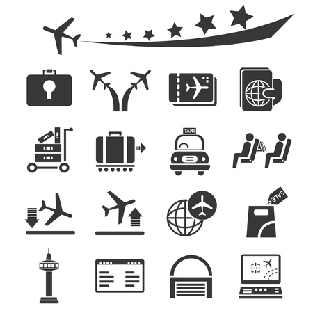 airplane landing: airport icons set