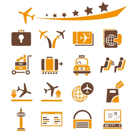 tickets: airport icons set, orange theme