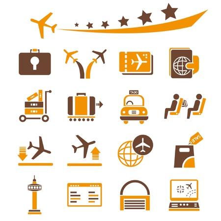 luchthaven pictogrammen, oranje thema