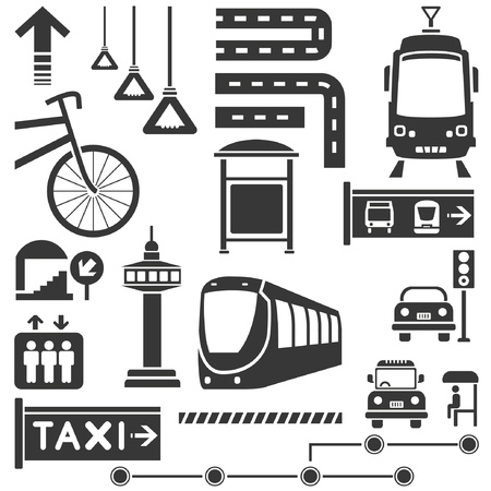 lift and carry: public traffic, transportation set Illustration