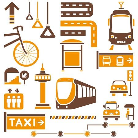 symbol traffic: public traffic, transportation set, orange theme