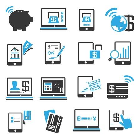 transakcji: Ikony bankowości internetowej zestaw, niebieski motyw Ilustracja
