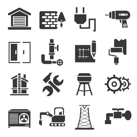building inspector: construction icons, icons set