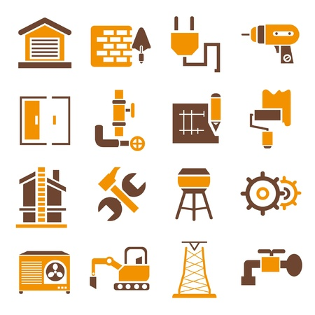 construction icons, icons set, orange theme Vector