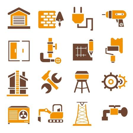 building inspector: construction icons, icons set, orange theme