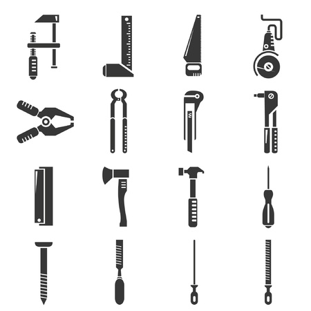 sharpen: construction tools, icons set Illustration