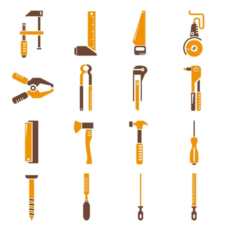 construction tools, icon set, orange theme Vector