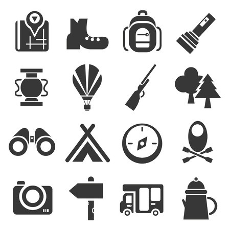 boot camp: camping icons set
