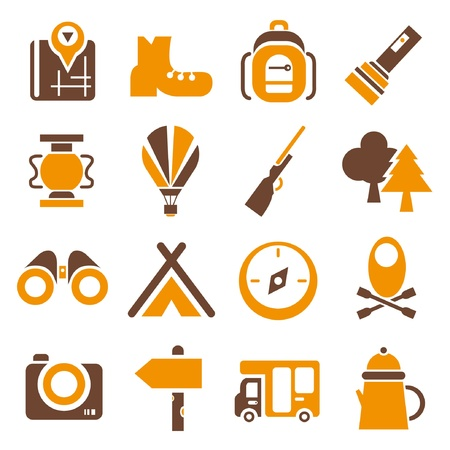 camping icons set, orange color theme Vector