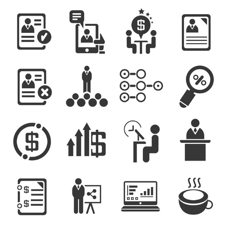 check: business management concept set,  administration, black icons