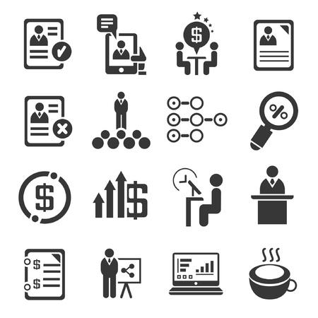 conjunto de gestión empresarial concepto, administración, iconos negros Ilustración de vector