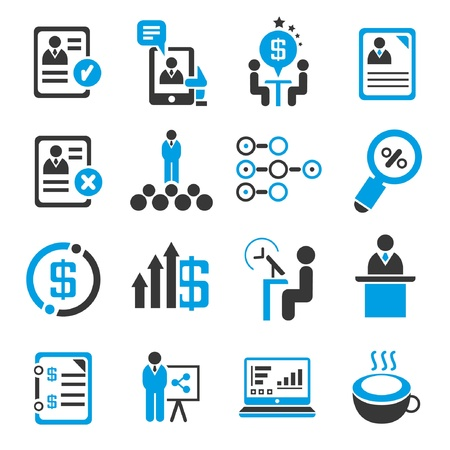 business management concept set,  administration, blue icons  Vector