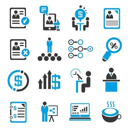 conjunto de gestión empresarial concepto, la administración, los iconos azules