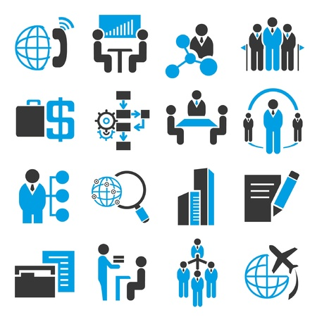recursos humanos: iconos, iconos de negocio de recursos humanos, el tema azul