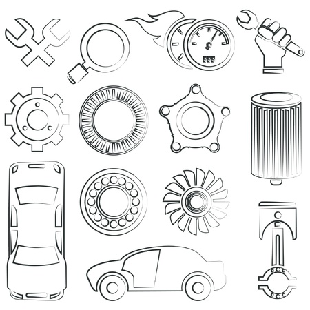 sketched car parts set Vector