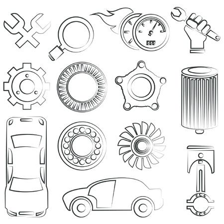 turbine engine: sketched car parts set