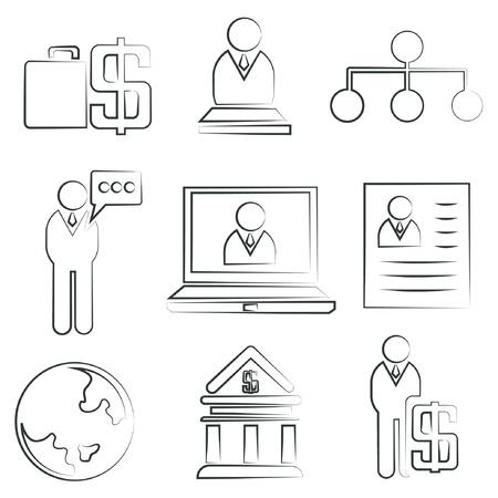 sketched icons: iconos de negocios bosquejados, iconos de los recursos humanos