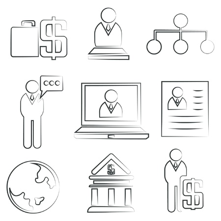 sketched icons: sketched business icons, human resource icons
