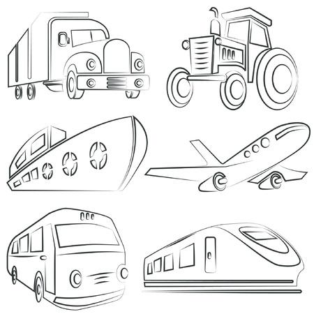 transportes: coche esbozado, set de camiones, transporte Vectores