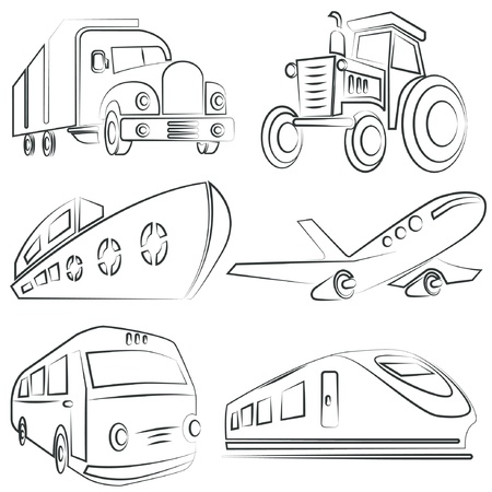 line drawing: sketched car, truck set, transportation Illustration