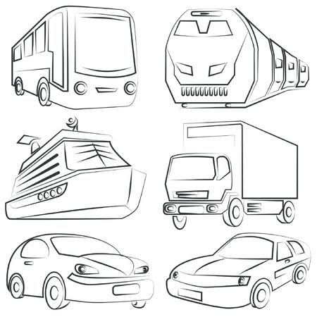 geschetst auto, vrachtwagen set, vervoer Vector Illustratie