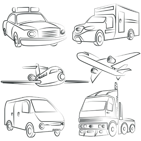taxi cab: sketched car, truck set, transportation Illustration