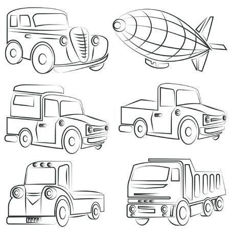 motor vehicle: sketched car, truck set, transportation Illustration