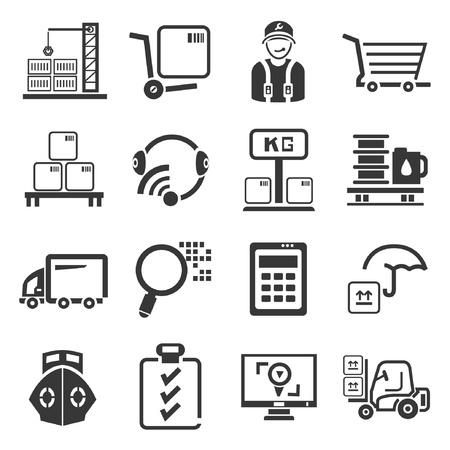 manage: shipping management icons set