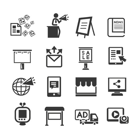 media and advertising icon set Vector