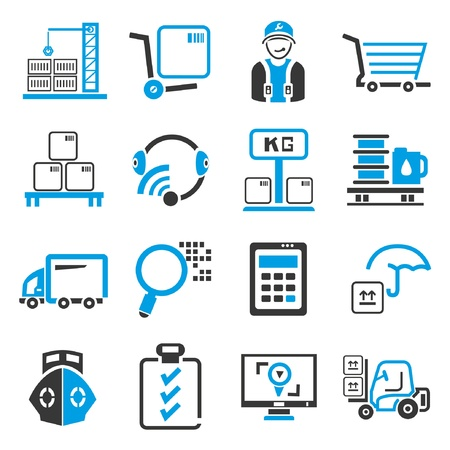 shipping management icons, blue theme Stock Vector - 21909283
