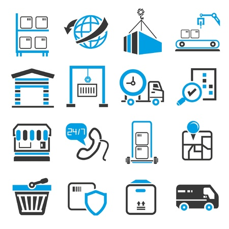 shipping icons, blue theme Vector