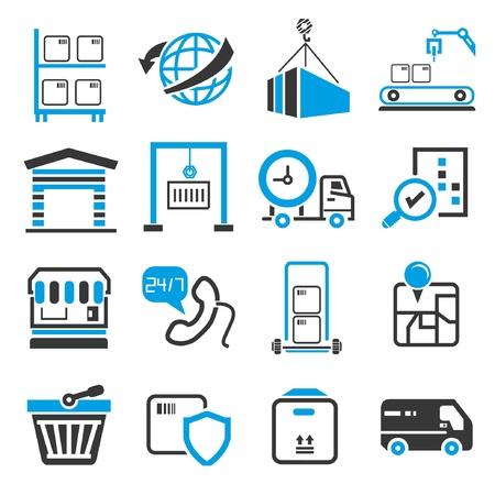 szállítási ikonok, kék téma