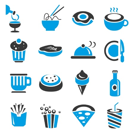 hot water bottle: food icons, blue theme