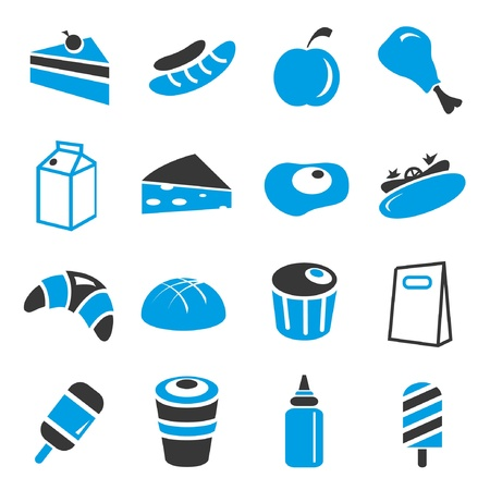 food icons, blue theme Vector