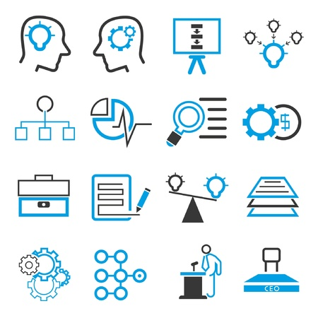 business solution icons, blue theme Vector