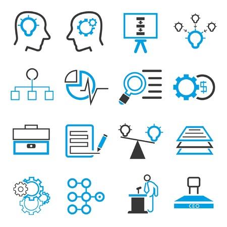 solutions d'entreprise d'icônes, thème bleu Vecteurs