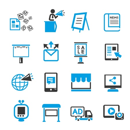 advertising and media icons, bluetheme Vector