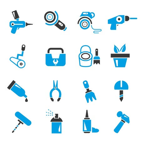 tack: garden gadget, and tool icons, blue theme