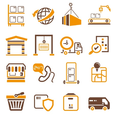hand truck: shipping icons, orange theme