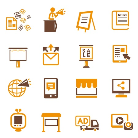 advertising and media icons, orange theme Vector