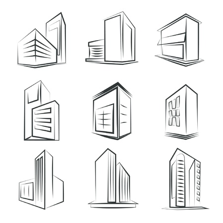 structuring: sketched building icons Illustration