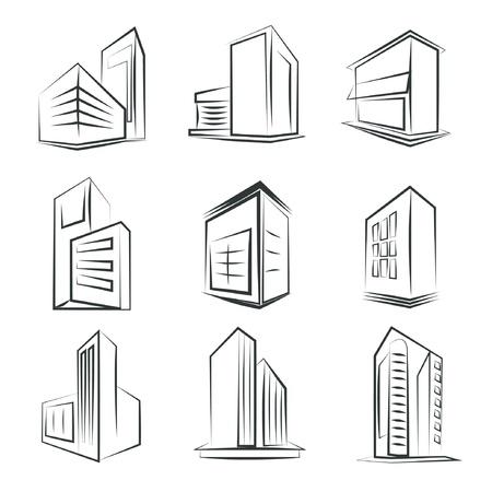 formatting: sketched building icons Illustration