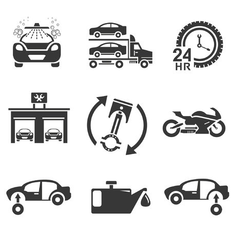 automotive icons, car parts and garage icons Vector