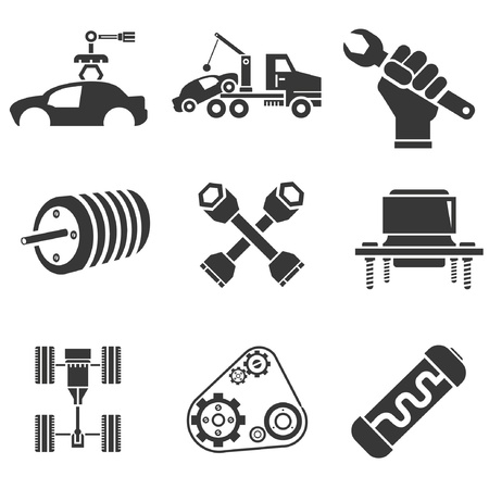 machine operator: automotive icons, car parts and garage icons