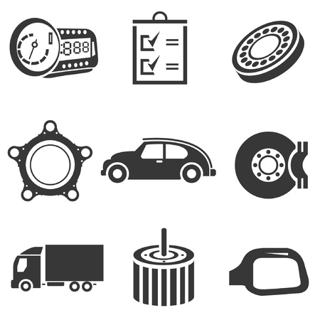 automotive icons, car parts and garage icons