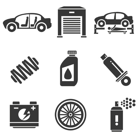 overhaul: icone automobilistiche, parti di automobili e le icone del garage